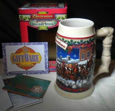 2006 Budweiser Clydesdales Old Towne Holiday Stein Christmas Mug Bud Beer Cup