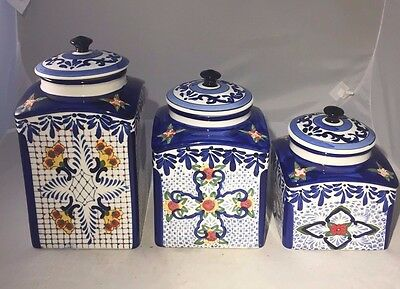Hand-Painted Talavera Mexican Pottery Canisters  - Blue & White - Canister Set
