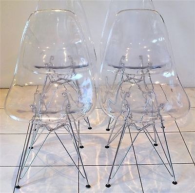 Replica Eames Eiffel Dining Chairs (X4) Transparent Chrome Steel