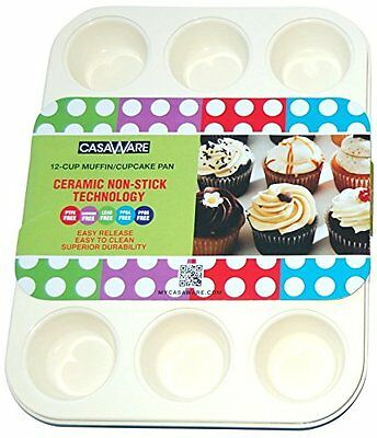 casaWare Ceramic Coated NonStick 12 Cup Muffin Pan Cream/Red, New