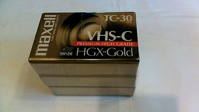 Maxell TC-30 VHS-C Premium High Grade HGX-Gold Camcorder Tape 3PC. Sealed. NEW