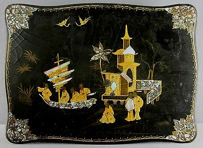 Antique 19Thc Paper Mache Hinged Lid Box Pearl Inlay Hand Painted Japanese Meiji
