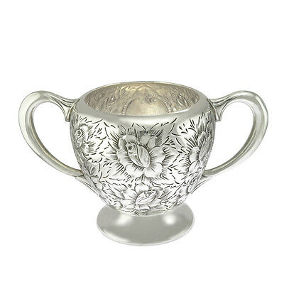 6 in wide - Sterling Silver Antique Repousse Rose Design Sugar Bowl