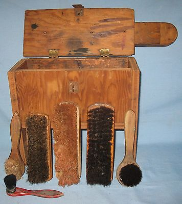 ANTIQUE PRIMITIVE LIFT TOP SHOE SHINE WOOD STAND BOX w/CONTENTS BRUSHES CLOTH