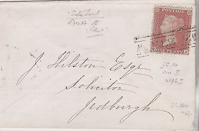 1855 QV SMALL COVER WITH FINE 1d RED STAMP MAILED TO J HILSTON AT JEDBURGH