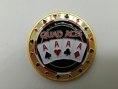 Golden QUAD ACES Casino Poker Card Guard Cover Protector Texas Poker Cards