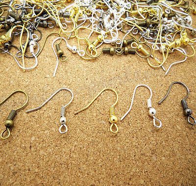 Lots 100Pcs(50 Pairs) Earring Hook Coil Ear Wire 18mm For Jewelry Findings DIY