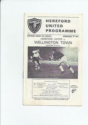Hereford United v Wellington Town League Cup Replay Football Programme 1964/65