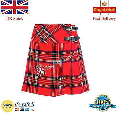 New Ladies Royal Stewart Tartan Scottish Mini Kilt Mod Skirt/Women Kilt Free Pin
