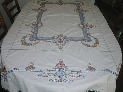 Vintage Hand Embroidered Tablecloth ~ Cotton ~ Oblong