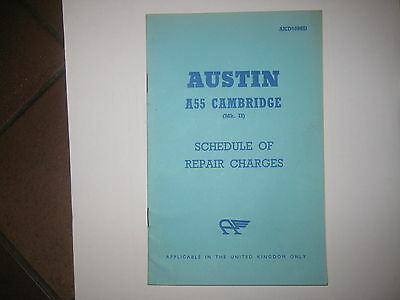 Austin A55 A 55 Cambridge Mk 11 Schedule Of Repair Charges