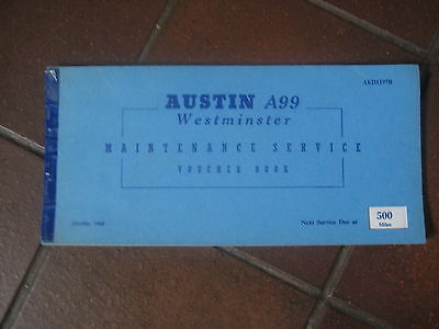 Austin A99 A 99 Westminster Service Voucher Book Unused 1960