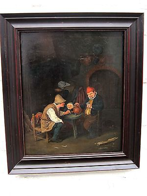 Follower of David Teniers ANTIQUE OLD MASTER OIL PAINTING on oak panel