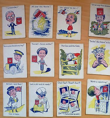 12 Cards From Smiler And Quads Game From Cow And Gate 1930 - 1 From Each Set