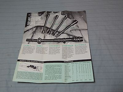 Vintage Bausch Lomb Rifle Scopes Advertising Pamphlet Poster