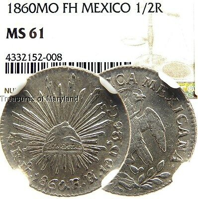 NGC MS61 1860 Mexico Republic Silver 1/2 Reales! (NGC Pop 1) sku #2008