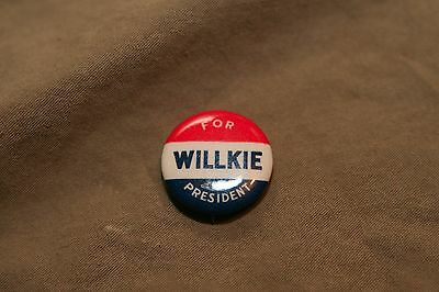 Antique Vintage Signed 1940 Political Pinback Button Willke And McNary