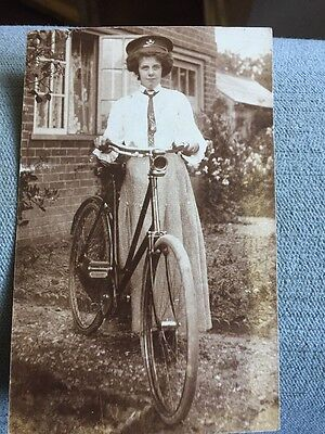 Military Lady With Bike Pre 1910