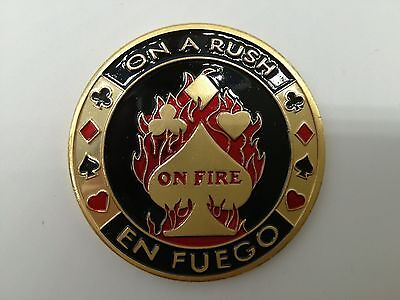 Golden ON A RUSH EN FUEGO ON FIRE Casino Poker Card Guard Cover Protector