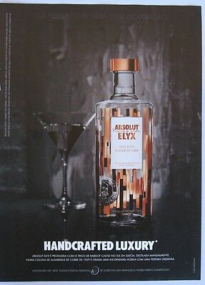 Absolut Vodka Elyx Handcrafted Luxury print ad 2014