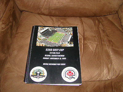 1995 Grey Cup Media Guide CFL Baltimore Stallions Colts