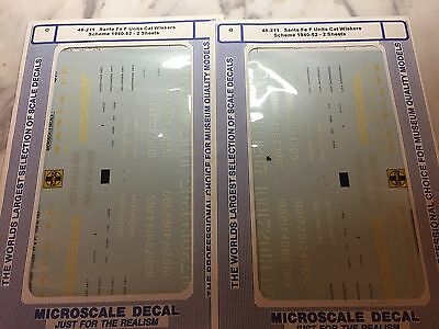 2 SETS!!  Microscale  decals O 48-211 Santa fe F Cat Whiskers 1940-52