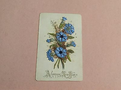 Antique/Vintage Fabric Flower New Year Greetings Card