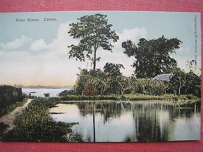 China:  River Scene Canton. Unused Card Nice Condition.  M. Sternberg, Hong Kong