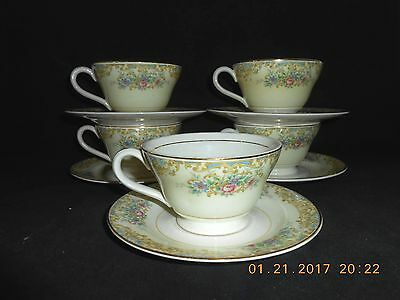 Edwin Knowles Semi Vitreous China 5 Cups & 11 Saucers Pink Blue Flowers #47 5