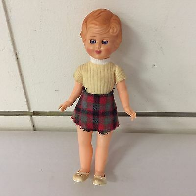"Vintage 7"" Plastic Doll Plaid Skirt Open & Closing Eyes"