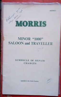 Morrts Minor 1000 Saloon and Traveller schedule of repair charges   1961