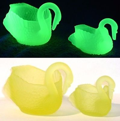 Boyd Glass Large and Small Swan Swans FROSTED Vaseline Uranium FUND