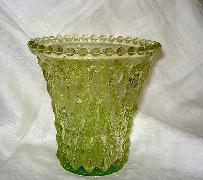 """Vintage Flared Candlewick Rim Light Green Glass Vase Diamond Quilted 5"""""""