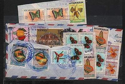 Nicaragua 1968-1970 Cover Cuts (5) Fruits Butterflies Orchids Cruxifiction Scene