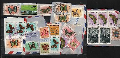 Nicaragua 1969-1970 Cover Cuts (8) Butterflies Orchids Helicopter Rescue