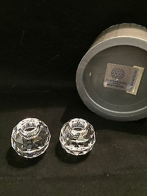 Swarovski Crystal Small Global Candleholders - RETIRED and RARE!