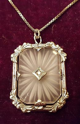 "Antique Art Deco Camphor Glass Pendant Genuine Diamond Center 18"" Chain"