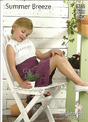 Stylecraft Easy Knit Girls Double Knitting Pattern, Long Or Short Summer Tops
