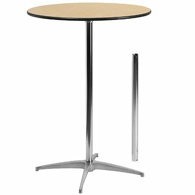 30in Round Wood Cocktail Table with 30in and 42in Columns Restaurant Furniture