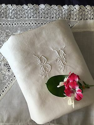 """2 Antique 1900 Towels Hand Embroidered Monogram B F 35"""" X 25"""" White Linen Damask"""