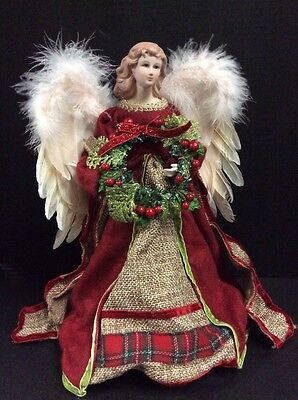 "Angel Tree Topper Red & Green Peasant Burlap Dress 16"" Porc Face Feather Wings"