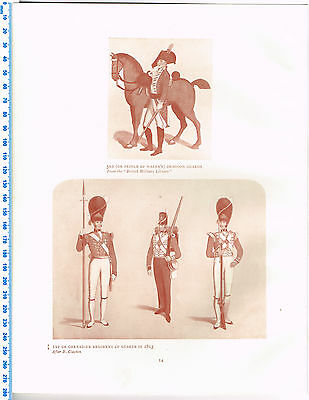 Grenadier Regiment Of Guards in 1815 & Dragoons Antique Military Picture Print