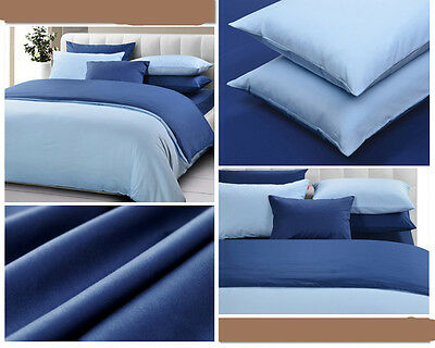Twin Full Queen King Solids REVERSIBLE DUVET COVER SET EGYPTIAN COTTON
