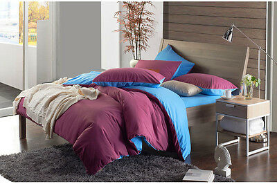 Twin Full Queen King Solids REVERSIBLE DUVET COVER SET EGYPTIAN COTTON #215