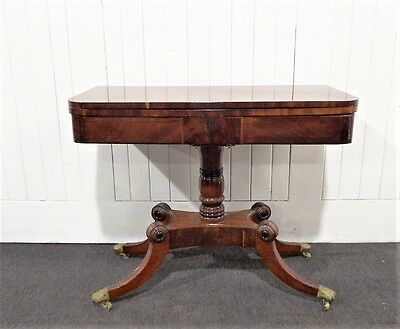 Antique inlaid turn over top fold out Victorian pedestal console tea table