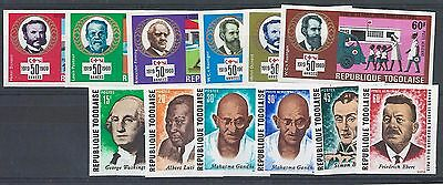 Togo 1969 Red Cross & World Peace sets imperf unmounted mint Michel728-33, 756-6