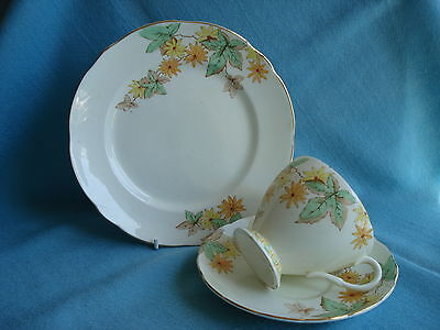 Beautiful Vintage Foley Bone China Tea Cup Saucer and Plate Trio #2