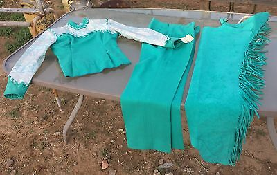 Custom Bright fringed TEAL show chaps w/ top & pants -Youth LG / Ladies 4 sizing