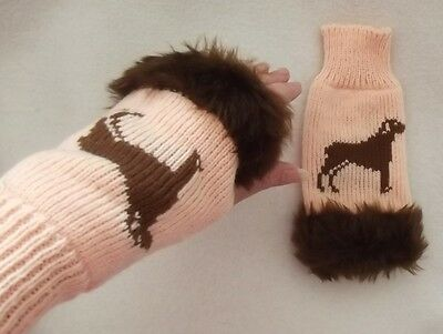 DOBERMAN dog on NEW knitted PEACH adult size FINGERLESS GLOVES with fur trim