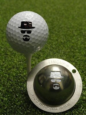 1 only TIN CUP GOLF BALL MARKER - MAN IN THE HAT, like Heisenberg, Incognito